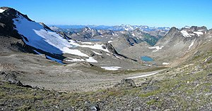 White Chuck Glacier in 2006; the glacier has retreated 1.9 kilometres (1.2 mi).