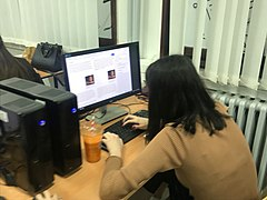 WikiGap volunteers working on creating new content in Macedonian on women who contributed to human rights and democracy.jpg