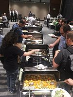 Wikimania 2015-Thursday-Food for hungry Hackathon people (10).jpg
