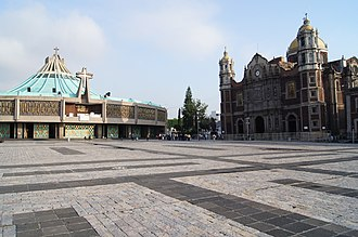 Basilica of Our Lady of Guadalupe - View of the new and the old basilica from the Marian square of the Americas