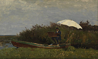 The painter Gabriël working in a boat