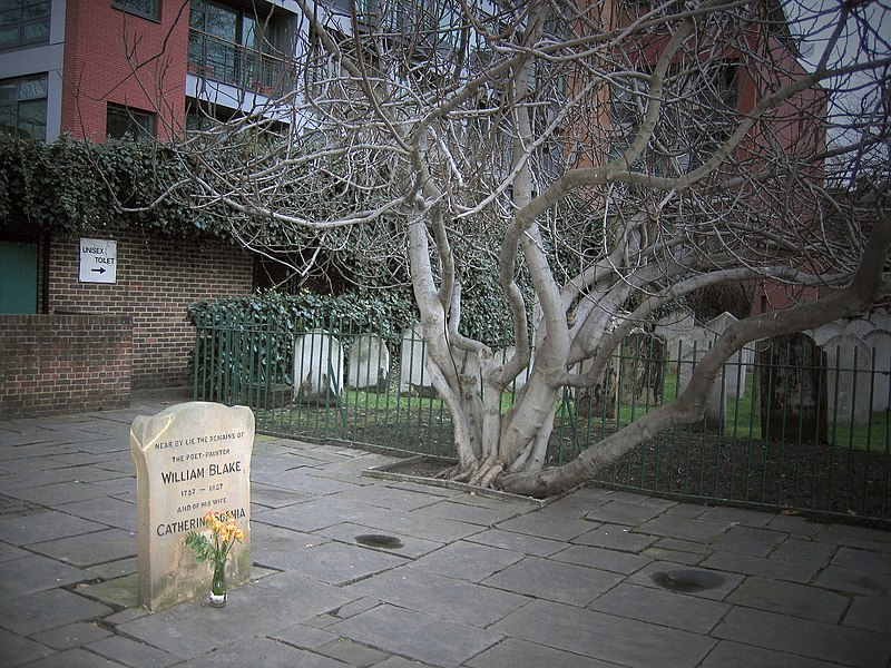 File:William Blake's grave with flower.jpg