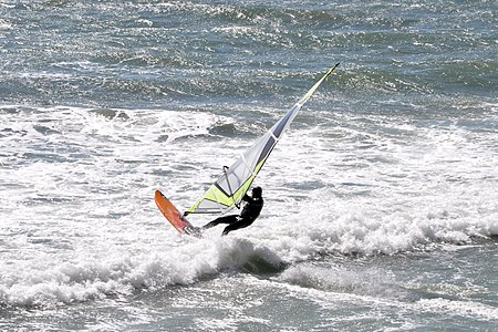 Windsurfer at Davenport Beach