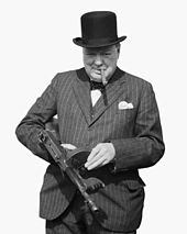 Churchill, wearing a hat and smoking a cigar, holds a submachine gun
