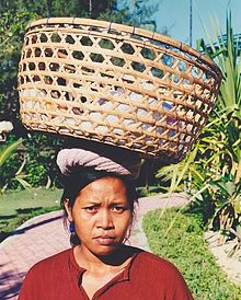 Woman with a large basket on her head in Indonsie.jpg