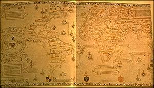 Mapamundi de Diego Ribero (1529), en el que se incluye a las Islas de San Antón. Biblioteca Apostólica Vaticana, Ciudad del Vaticano