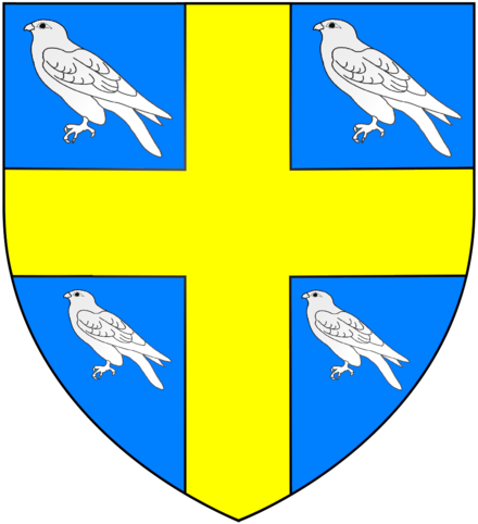 Arms of Wriothesley: Azure, a cross or between four hawks close argent WriothesleyArms.png