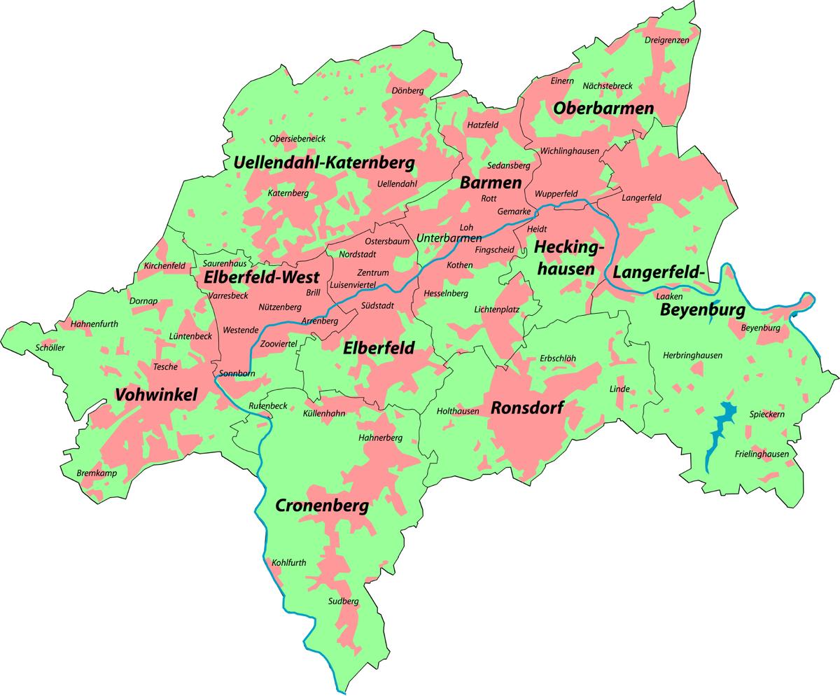 karte wuppertal Liste der Stadtbezirke und Stadtteile von Wuppertal – Wikipedia karte wuppertal