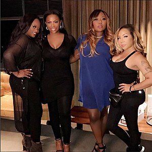 "Xscape (group) - Tamika Scott, Kandi Burruss, LaTocha Scott, and Tameka ""Tiny"" Cottle in 2017"