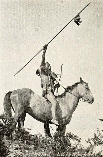 Yakama - Yakama Warrior ca. 1913, photographed by Lucullus V. McWhorter