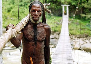 English: Dani tribesman on his way to his vill...