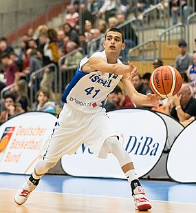 Israeli basketball player Yam Madar making a blind pass. Yam Madar.jpg