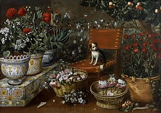 Garden Scene with Dog