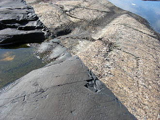Gneiss - Contact between a dark-colored diabase dike (about 1100 million years old) and light-colored migmatitic paragneiss in the Kosterhavet National Park in the Koster Islands off the southwestern coast of Sweden.