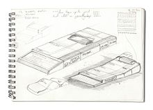 Sketch of two concept designs for the ZX81, showing the computer with a series of similarly-shaped boxes stacked behind it in a row.