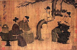 Four occupations - A Literary Garden, by Zhou Wenju, 10th century.