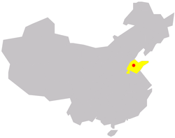 Location of Zibo in China