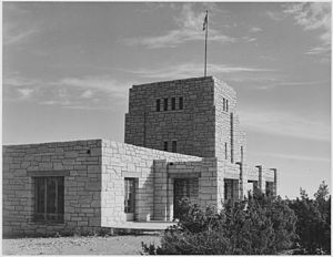 Carlsbad Caverns National Park - Elevator house, circa 1933-42.  Photo by Ansel Adams.