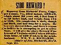 $100 bounty for runaway slave, Richards' Ferry, VA (cropped).jpg