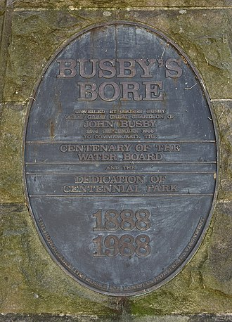Busby's Bore - A memorial of Busby's Bore located in Centennial Park, erected in 1988, pictured in 2017.