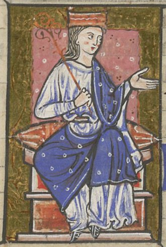 Owain ap Dyfnwal (fl. 934) - Illuminated portrait of Æthelflæd, from folio 14r of British Library Cotton Claudius B VI.