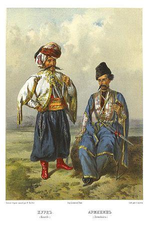 Armenian–Kurdish relations - Kurdish and Armenian traditional clothes, 1862