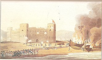 Piracy in the Persian Gulf - Ras Al Khaimah under attack by the British in December 1819.