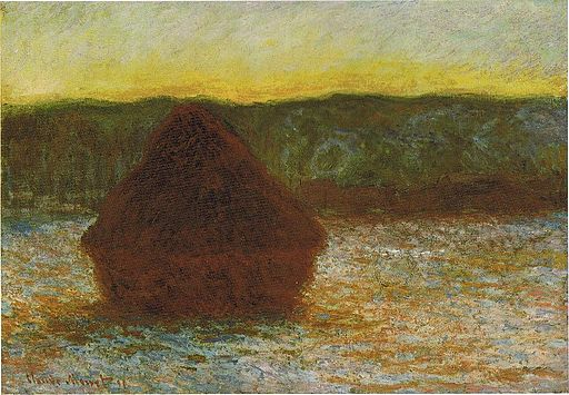 1284 Wheatstack (Thaw, Sunset), 1890-91, 66 x 93, 26 x 36 5-8 in. The Art Institute of Chicago
