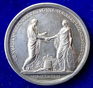 Diet of Galicia and Lodomeria - Medal of 1782 commemorating the constitution of the parliament in Galicia and Lodomeria by Joseph II, Holy Roman Emperor. It shows an allegorical depiction of imperial law (left) being handed over to the allegorical figure of Galicia with her shield showing the coat of arms of the lands