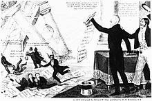Banker Nicholas Biddle, portrayed as the devil, along with several speculators and hirelings, flee as the bank collapses while Jackson's supporters cheer.)
