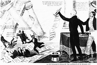 "Second Bank of the United States - A Democratic cartoon from 1833 showing Jackson destroying the bank with his ""Order for the Removal,"" to the approval of the Uncle Sam like figure to the right, and the annoyance of the bank's president, shown as the Devil himself. Numerous politicians and editors who were given favorable loans from the bank run for cover as the financial temple crashes down."