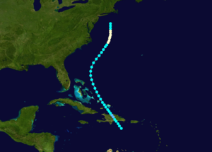 1889 Atlantic hurricane season - Image: 1889 Atlantic hurricane 3 track