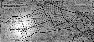 Owensmouth - 1917 map of the San Fernando Valley by the Automobile Club of Southern California, showing the town of Owensmouth in the current location of Canoga Park and West Hills