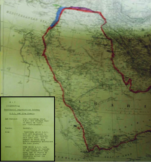 1918 British Government Map illustrating Territorial Negotiations between H.M.G. and King Hussein