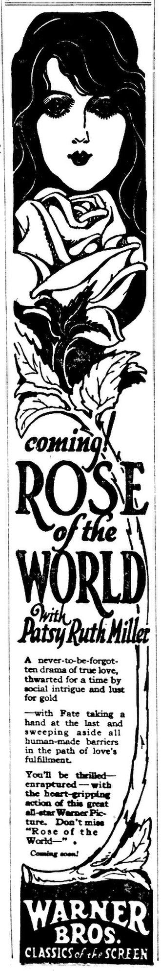 Patsy Ruth Miller - 1926 advertisement for Rose of the World