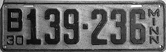 Vehicle registration plates of Minnesota - Image: 1930 Minnesota license plate