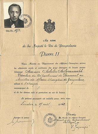 Yugoslav government-in-exile - 1942 Yugoslavian Government in Exile Diplomatic passport issued at London.