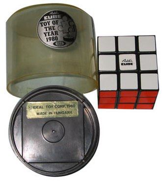Rubik's Cube - Packaging of Rubik's Cube, Toy of the year 1980–Ideal Toy Corp., made in Hungary