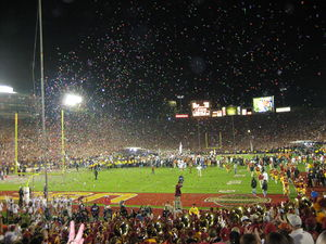 2006 Rose Bowl - Confetti rains down on the field in the post-game celebration as Texas defeats USC.