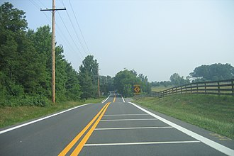 Maryland Route 97 - Northbound MD 97 approaching Howard/Carroll county border.