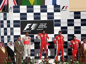 The podium ceremony at the 2007 Bahrain Grand Prix 2007 Bahrain GP podium.jpg