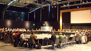 Universal Esperanto Association - The Komitato, the highest organ of UEA, gathering in 2008 at the World Congress of Esperanto