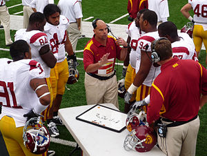 Nick Holt - Holt coaching the Trojans in 2008.