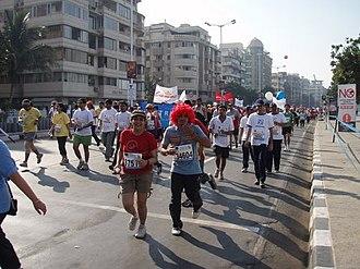 Mumbai Marathon - Runners at the 2008 Mumbai Marathon.