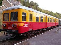 2009-08-15 ex-SNCB belgian railcar 4333 at Spontin station from Chemin de fer du Bocq heritage railway.jpg