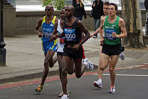 10K run - Mo Farah, Micah Kogo and Chris Thompson in the elite men's race at the London 10000 in 2010