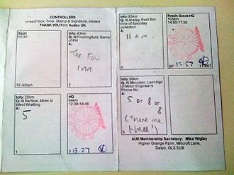 Randonneuring - Image: 20110312 Brevet Card