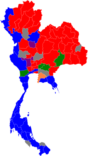 Thai general election, 2011 - Image: 2011 Thai general election results per region