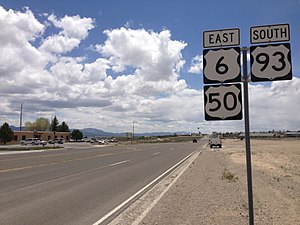 U.S. Route 50 in Nevada - US 6/US 50/US 93 overlap in Ely