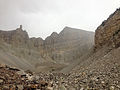 2014-09-15 13 38 33 View up the Glacier Trail towards Wheeler Peak and the Wheeler Peak Glacier as a thundershower moves over the peak in Great Basin National Park, Nevada.JPG